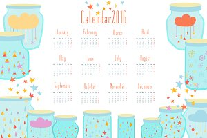 Magic Calendar for 2016 in vector.