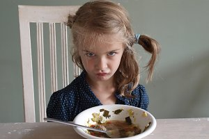 Girl refusing to eat