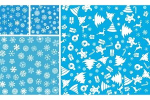 4 Christmas Seamless Background set