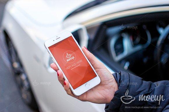 Download PSD Mockup iPhone 6 Car