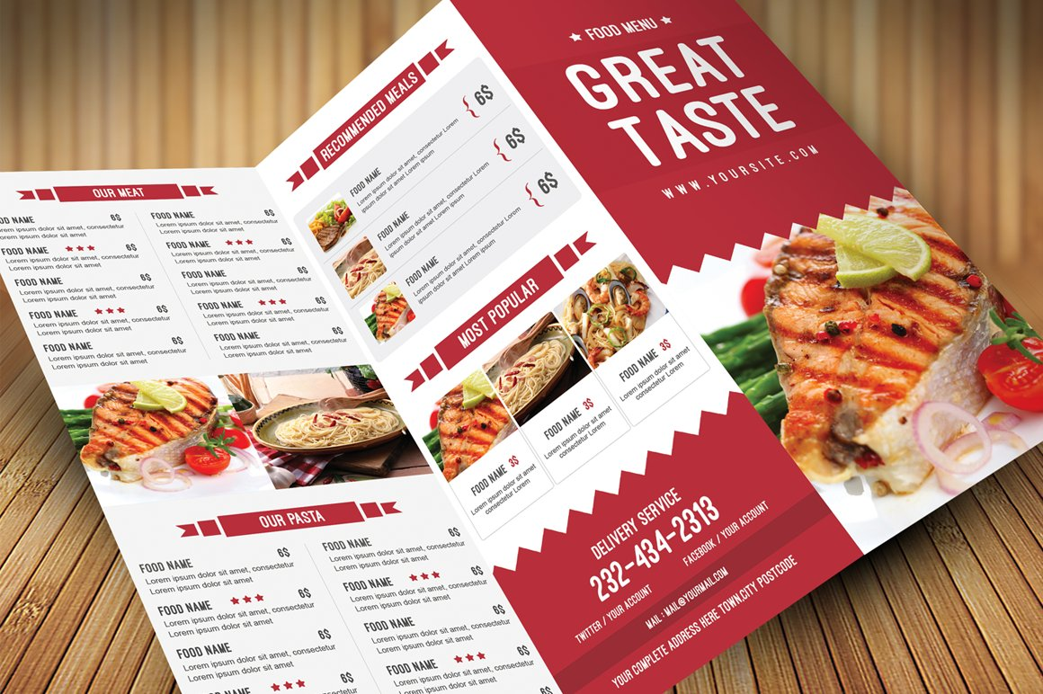 Restaurant Food Menu Brochure Templates Creative Market - Food brochure templates