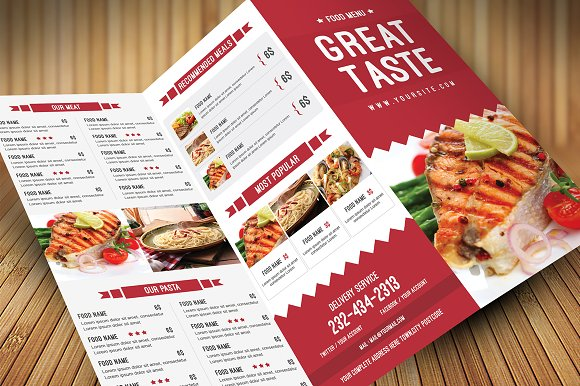 Restaurant food menu brochure templates on creative market
