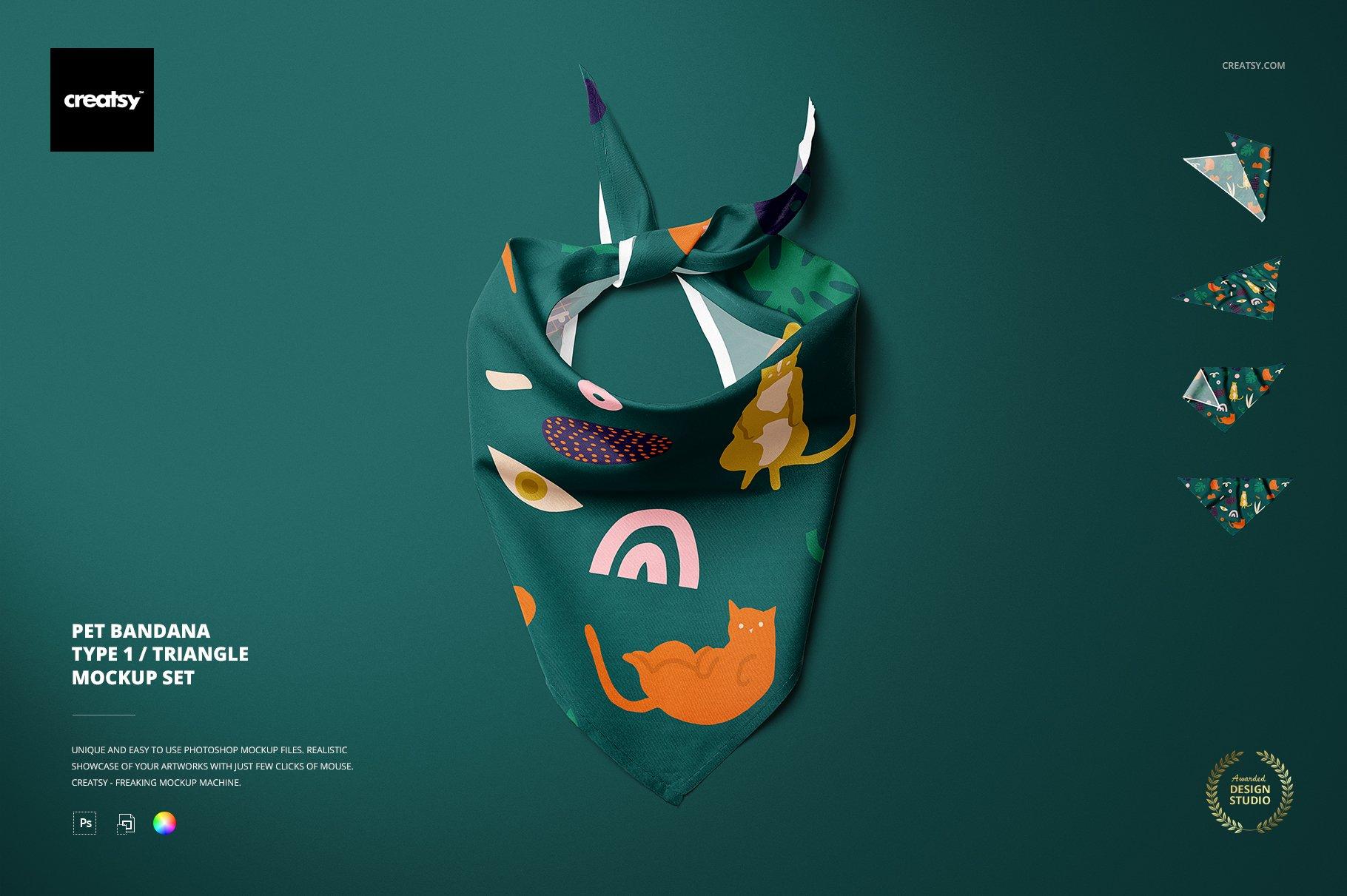 Download Pet Bandana Mockup Set Type 1 Creative Photoshop Templates Creative Market