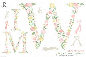 Flower monogram, floral type W M I