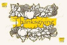 Thanksgiving Day. Hand Drawn design.