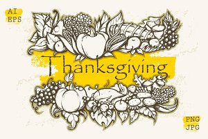 Thanksgiving Day. Hand Drawn design.