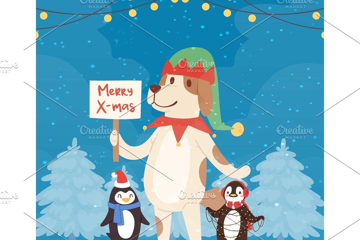 Merry christmas funny dog and