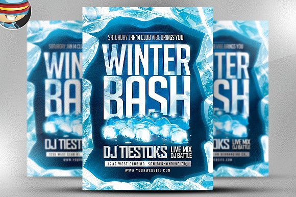 Winter Bash Flyer Template 2 Flyer Templates on Creative Market – Winter Flyer Template