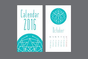 Calendar 2016 with abstractions