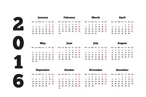 Calendar on 2016 year, A4 sheet size