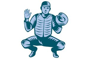 Baseball Catcher Gloves Woodcut