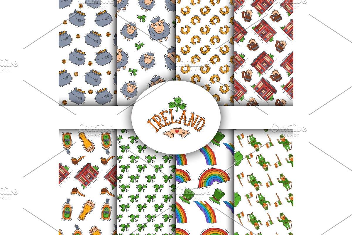 Ireland symbols seamless patterns