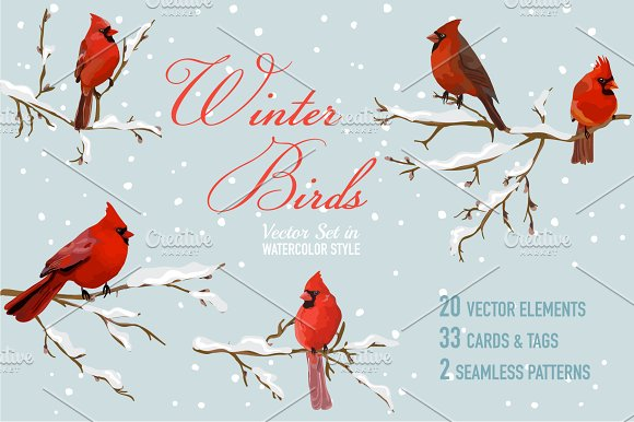 Christmas Pack Cards, Tags. Vol.2 - Illustrations