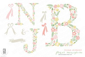 Flower monogram, floral type B J N