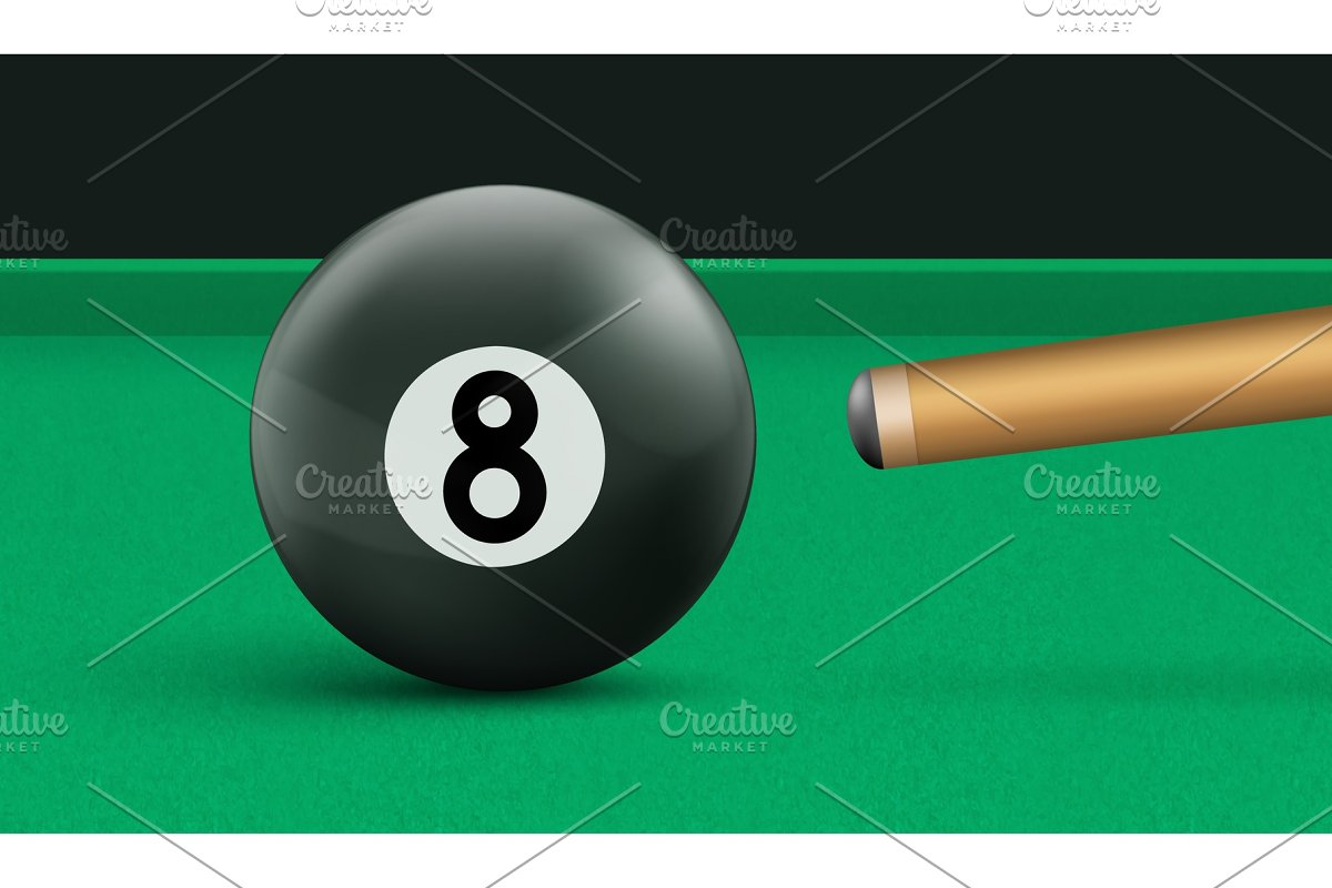 Billiard eight ball and cue on green