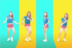 Vector lowpoly dancing girl