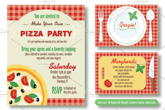 editable pizza party invitation invitation templates creative market