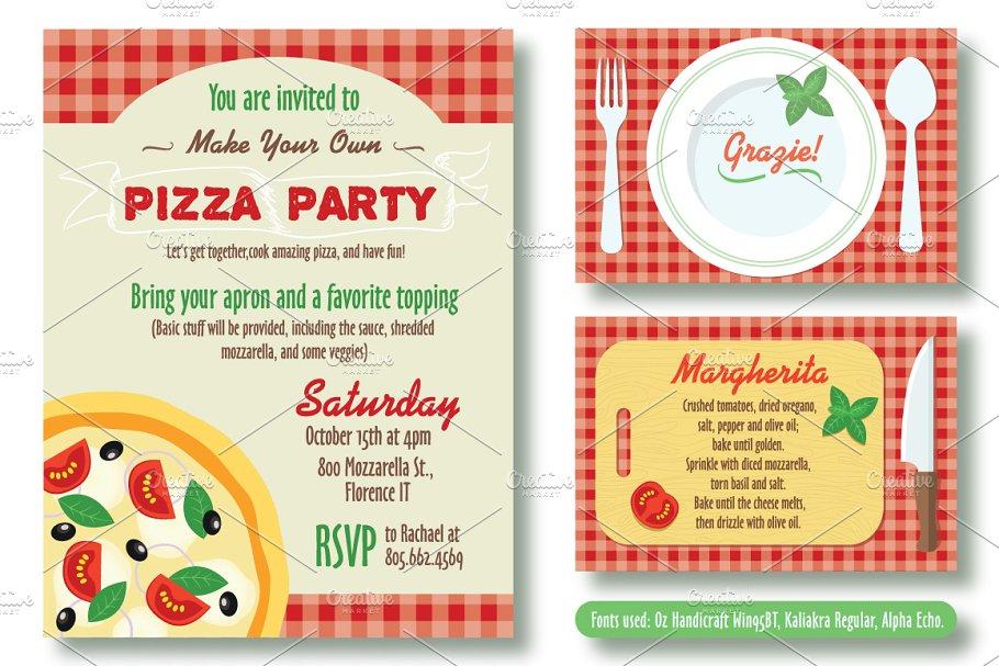 Editable Pizza Party Invitation Invitation Templates Creative Market
