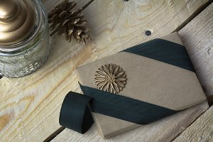 Gift box, wrapped in recycled paper,