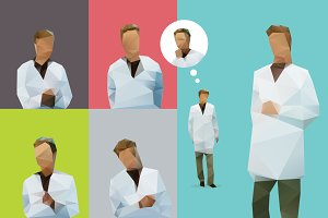 Vector lowpoly doctor in white coat