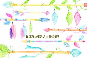 Watercolor Clipart Floral Arrows