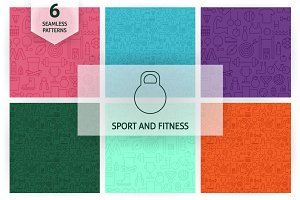 Sport Fitness Line Seamless Patterns