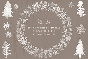 Rustic White Wood Christmas Cliparts