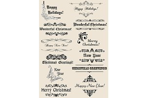 Vintage Christmas and New Year heade