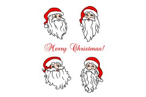 Four cheerful Santa Clouses