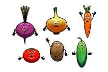 Beet, onion, carrot, tomato, potato