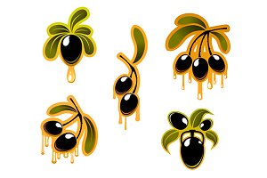 Black olives symbols set