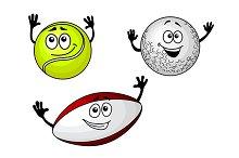 Golf, tennis and football balls