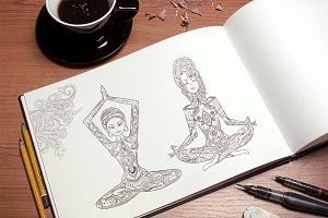 2 Girl in yoga pose. Vector