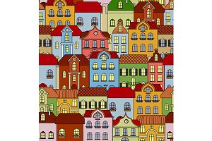 Seamless pattern with retro building