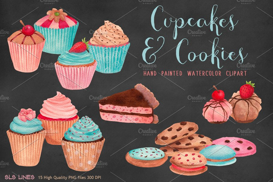 fd9c3273a08 Cupcakes   Cookies Clipart ~ Illustrations ~ Creative Market