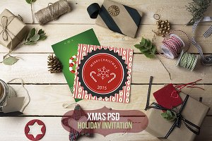 Xmas-Holiday invitation PSD mockup