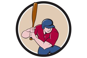 Baseball Player Batting Circle Carto