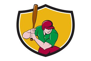 Baseball Player Batting Shield Carto
