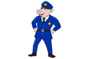 Policeman Pig Sheriff Cartoon