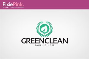 Green Clean Logo Template