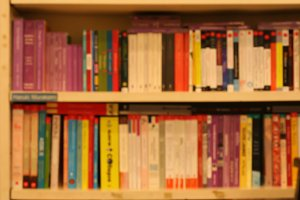 blur of Books on a shelf background