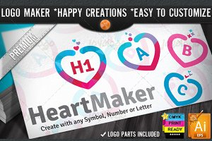 Colorful Flat Love Heart Logo Maker
