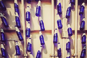 Beer bottles on wall