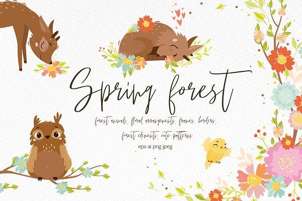 Spring forest. Woodland animals