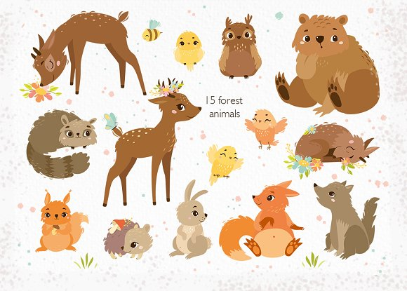 Spring forest. Woodland animals in Illustrations - product preview 2