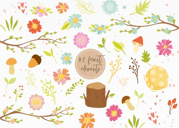 Spring forest. Woodland animals in Illustrations - product preview 3