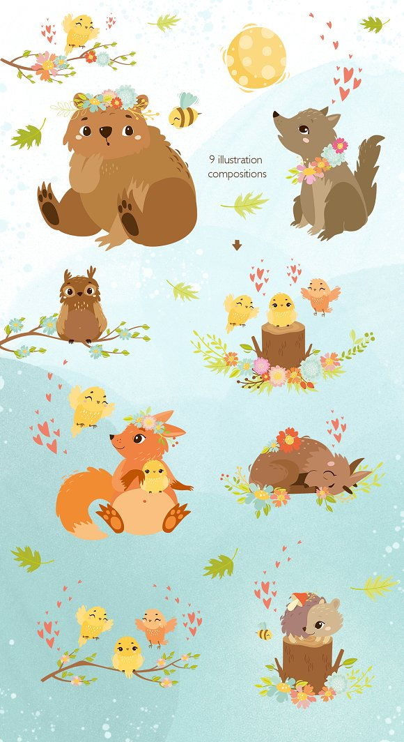 Spring forest. Woodland animals in Illustrations - product preview 4