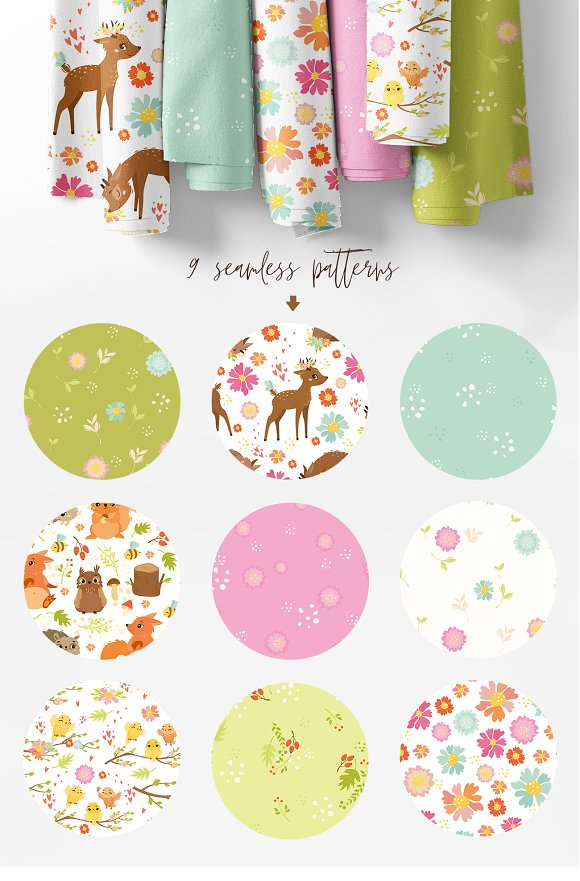 Spring forest. Woodland animals in Illustrations - product preview 5