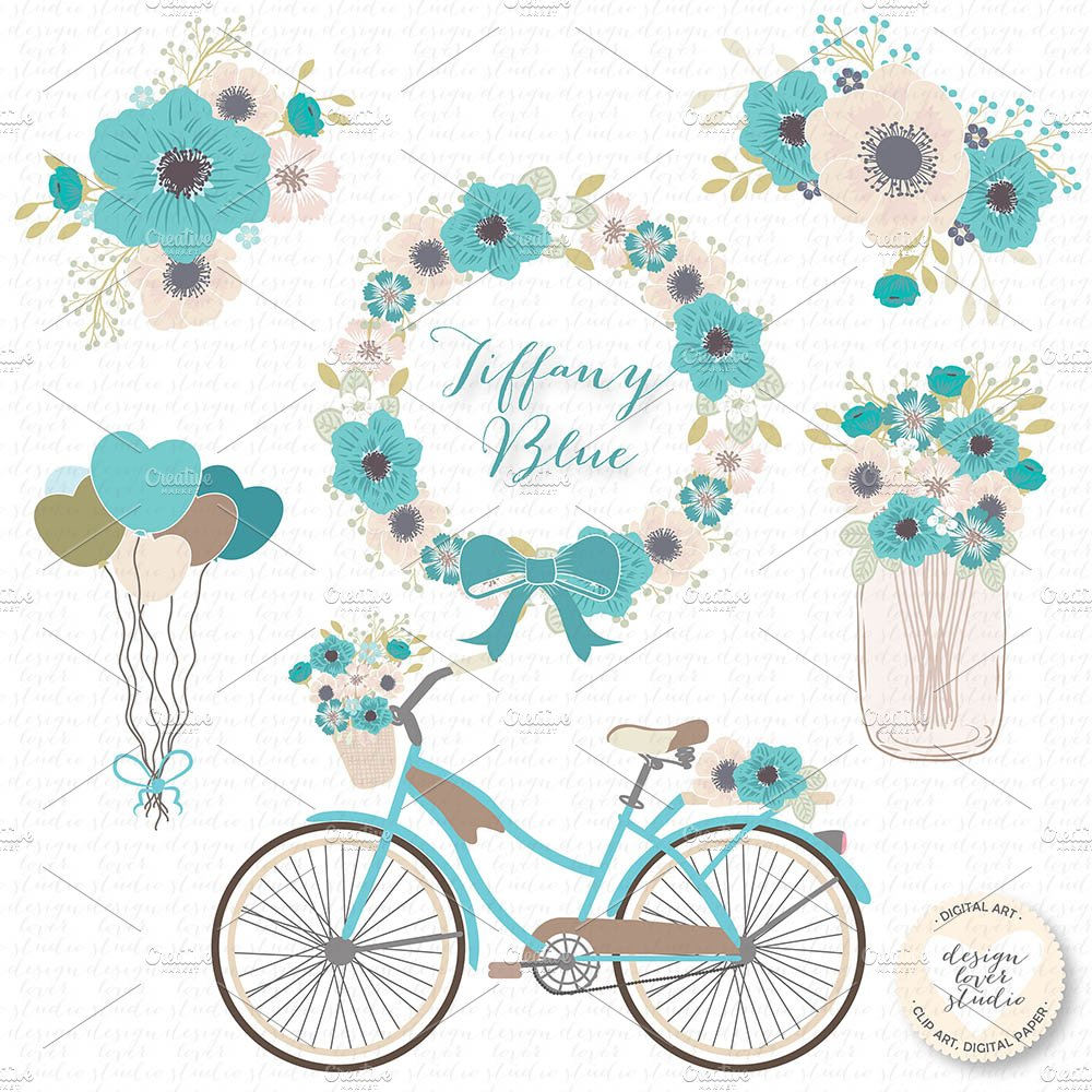 Vector Bicycle Blue Cliparts Illustrations Creative Market