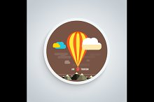 Hot Air Balloon Flying Over Mountain